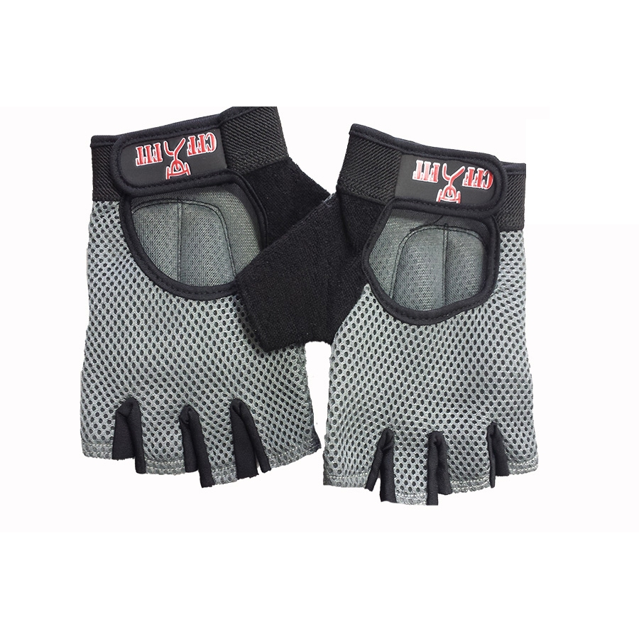 Mesh Weight Lifting Gloves: CFF Gray Nylon Mesh Weightlifting Gloves W/Rubber Grip